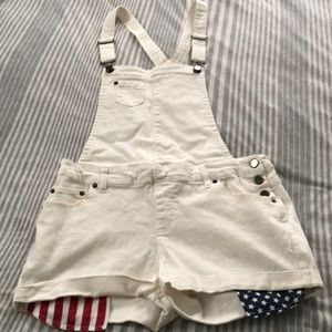 Xhilaration Red white & blue overalls